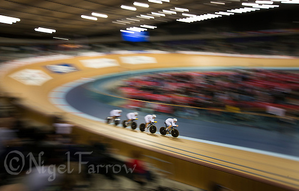 05 DEC 2014 - STRATFORD, LONDON, GBR - The Australian (AUS) team race round the track during the men's Team Pursuit qualifying round at the 2014 UCI Track Cycling World Cup  at the Lee Valley Velo Park in Stratford, London, Great Britain (PHOTO COPYRIGHT © 2014 NIGEL FARROW, ALL RIGHTS RESERVED) (NIGEL FARROW/COPYRIGHT © 2014 NIGEL FARROW : www.nigelfarrow.com)