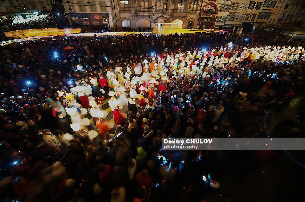 BASEL, SWITZERLAND - MARCH 02, 2009: Unidentified people take part in Morgestraich - Carnival opening in Basel, Switzerland. Long exposure. (Dmitry Chulov)
