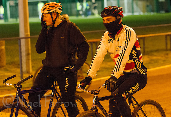 31 MAR 2015 - IPSWICH, GBR - Ashley Hill (right) waits beside Dan Knights (left) to start the next drill during an Ipswich Cycle Speedway Club training session at Whitton Sports and Community Centre in Ipswich, Great Britain (PHOTO COPYRIGHT © 2015 NIGEL FARROW, ALL RIGHTS RESERVED) (NIGEL FARROW/COPYRIGHT © 2015 NIGEL FARROW : www.nigelfarrow.com)