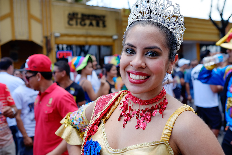 MIAMI - MARCH 9, 2014: Portrait of woman performing during the 37th Calle Ocho festival, an annual event that takes place over Eighth Street in Little Havana featuring plenty of music, food, and  it is the biggest party in town that celebrates hispanic heritage. (Daniel Korzeniewski)