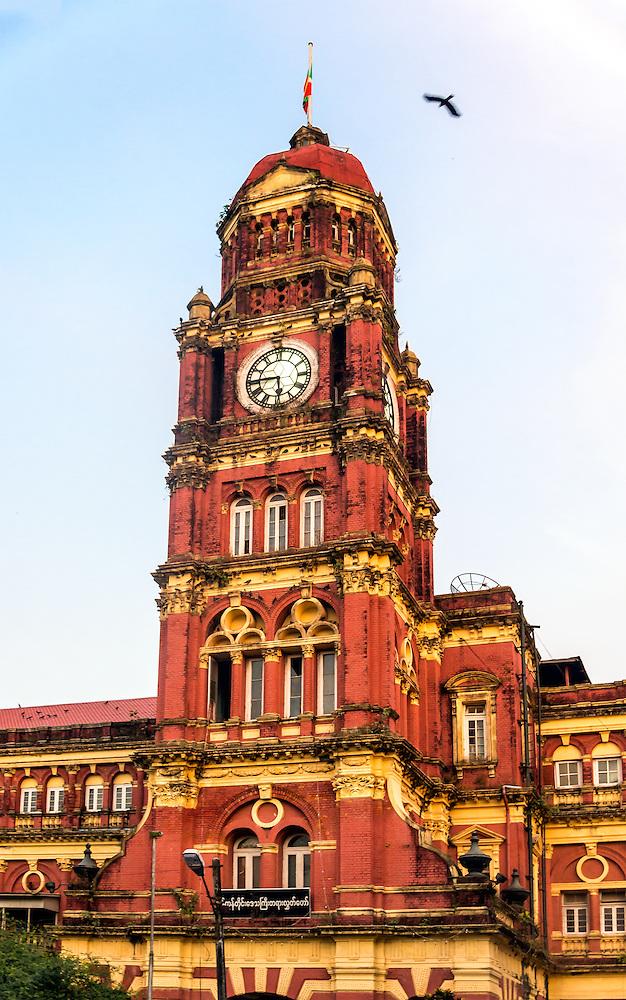 YANGON, MYANMAR - CIRCA DECEMBER 2013: View of the Yangon High Court, an emblematic building from the Colonial era close to the Maha Bandoola Garden in Yangon. (Daniel Korzeniewski)