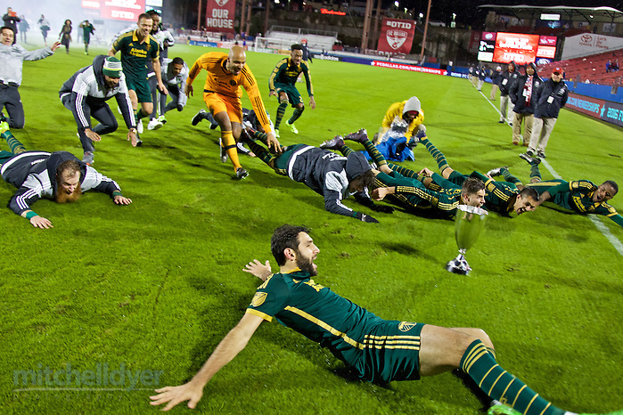 Nov 29, 2015; Frisco, TX, USA; The Timbers celebrate after winning the Western Conference Championship at Toyota Stadium. Photo: Craig Mitchelldyer-Portland Timbers (Craig Mitchelldyer)