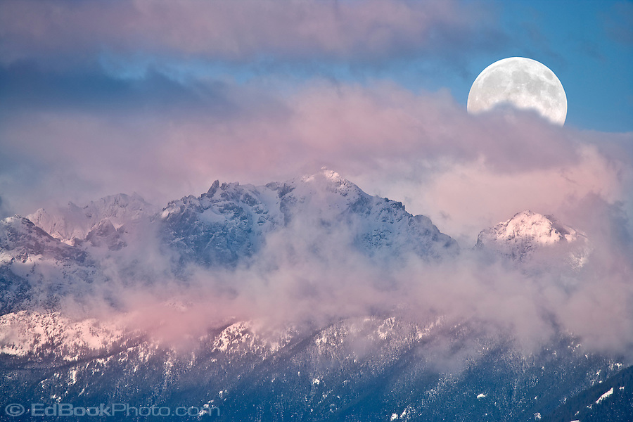 Moonset over Mt Constance in the Olympic Mountains from across the Hood Canal, Washington, USA (Ed Book/EdBookPhoto.com)
