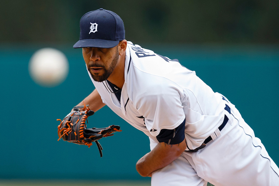 Apr 6, 2015; Detroit, MI, USA; Detroit Tigers starting pitcher David Price (14) warms up before the first inning against the Minnesota Twins at Comerica Park. Mandatory Credit: Rick Osentoski-USA TODAY Sports (Rick Osentoski/Rick Osentoski-USA TODAY Sports)
