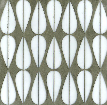 Mod Drops, a glass waterjet mosaic shown in Moonstone, is part of the Erin Adams Collection for New Ravenna Mosaics. (New Ravenna Mosaics 2012)