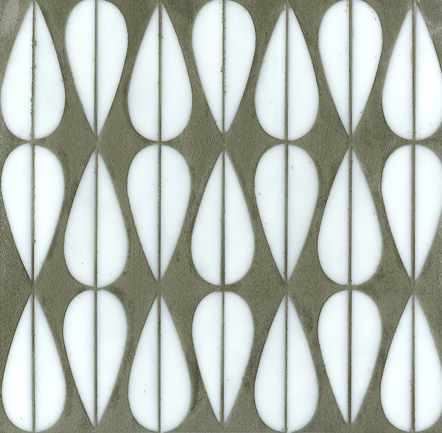 Erin Adams Mod Drops shown in Moonstone for New Ravenna Mosaics. (New Ravenna Mosaics 2012)