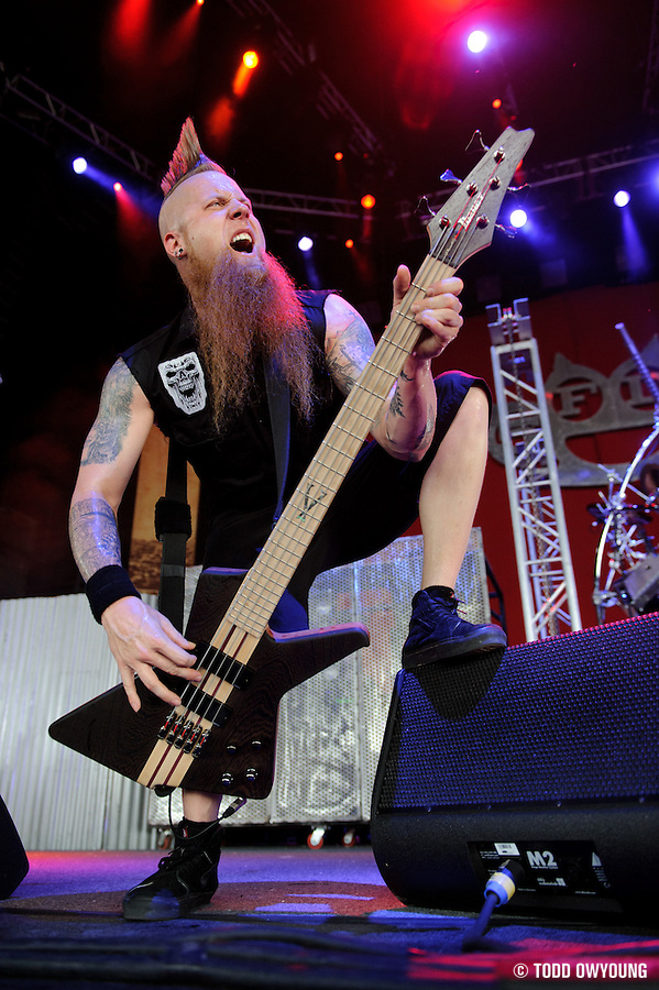Five Finger Death Punch performing at Mayhem Fest 2010 on July 20 at Verizon Wireless Amphitheater in St. Louis (TODD OWYOUNG)
