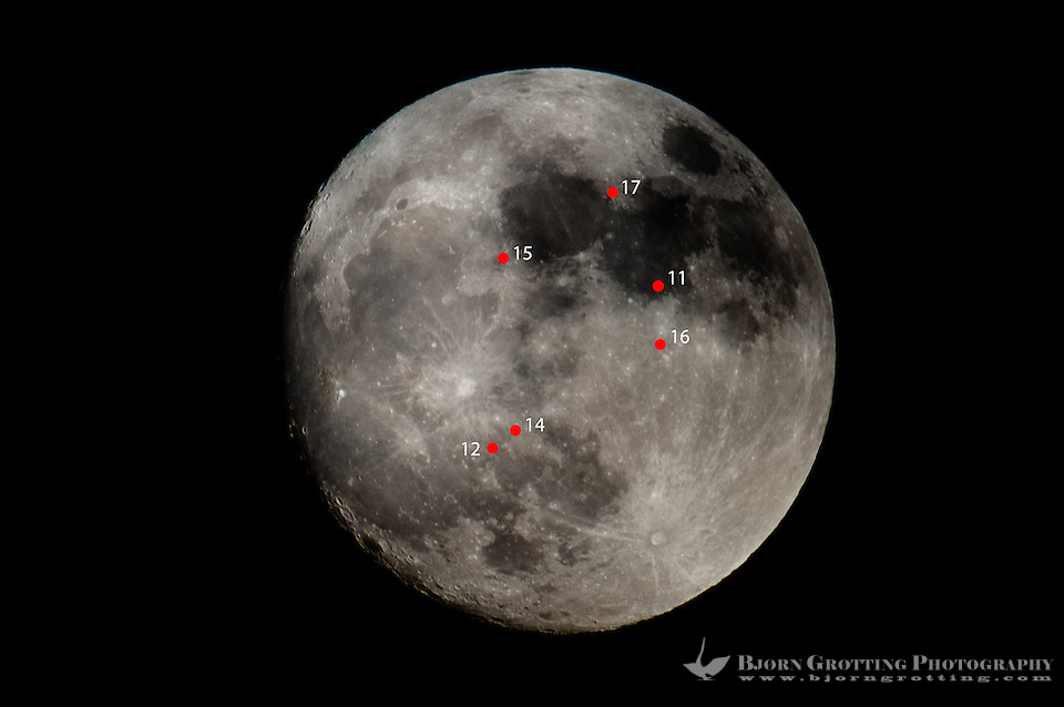 The Moon at full perigee. Red dots indicates the landing spots of the various Apollo missions. (Photo Bjorn Grotting)
