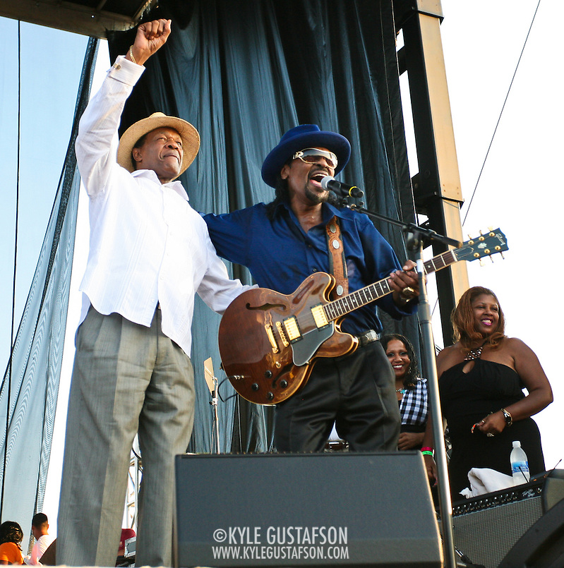 "WASHINGTON, DC -  August 15th, 2009 -  ""Godfather of Go-Go"" Chuck Brown (R) is joined onstage by ""Mayor For Life"" Marion Barry (L) at the Stone Soul Picnic at RFK Stadium in Washington, D.C. (Photo by Kyle Gustafson) (Kyle Gustafson)"