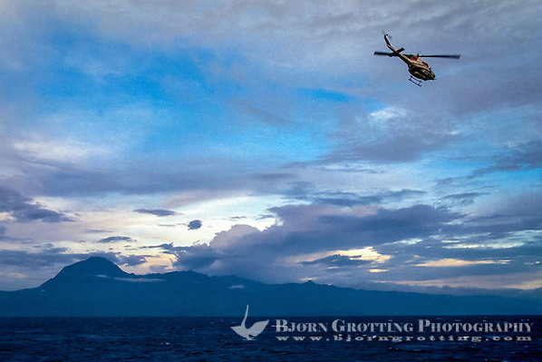 Maluku, Central Maluku, Buru. Helicopter on its way to Buru. East coast of the island. (Bjorn Grotting)