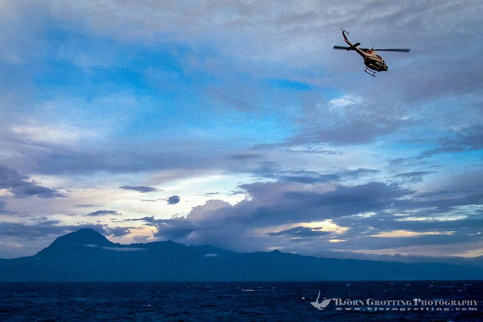 Maluku, Central Maluku, Buru. Helicopter on its way to Buru. East coast of the island. (Bjorn Grotting)