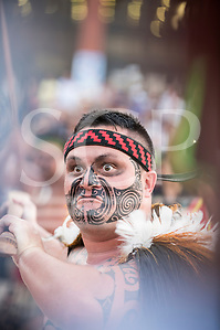 A Maori contestant with striking face paint participates at the fire ceremony at the first ever International Indigenous Games, in the city of Palmas, Tocantins State, Brazil. Photo © Sue Cunningham, pictures@scphotographic.com 22nd October 2015 (Sue Cunningham/SCP)