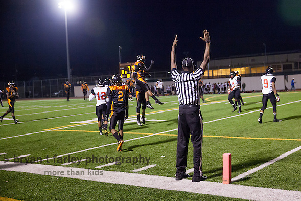 McClymonds High School (Oakland, California) defeated Salesian High 33-22 on Friday September 12, 2014 in Oakland. McClymonds moves to 3-0 on the season. (bryan farley)