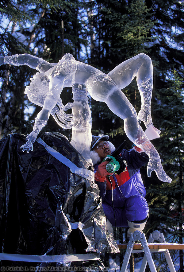 Ice sculptor Junichi Nakamura, Japan, World Ice Sculpting Competition, Fairbanks, Alaska (Patrick J. Endres / AlaskaPhotoGraphics.com)