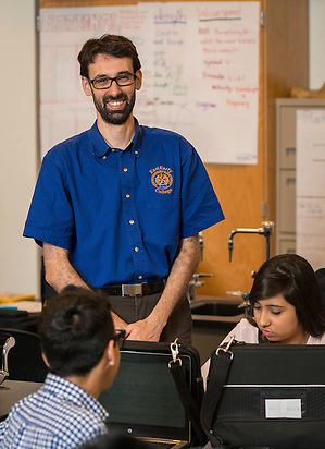 Vladimir Lopez teaches Physics at East Early College High School, April 27, 2015. (Houston ISD/Dave Einsel)