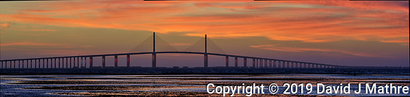 Sunshine Skyway Bridge at Dawn from Fort De Soto Park. Composite of 4 images taken with a Fuji X-H1 camera and 200 mm f/2 OIS lens (ISO 400, 200 mm, f/11, 1/20 sec). Raw images processed with Capture One Pro and AutoPano Giga Pro. (DAVID J MATHRE)