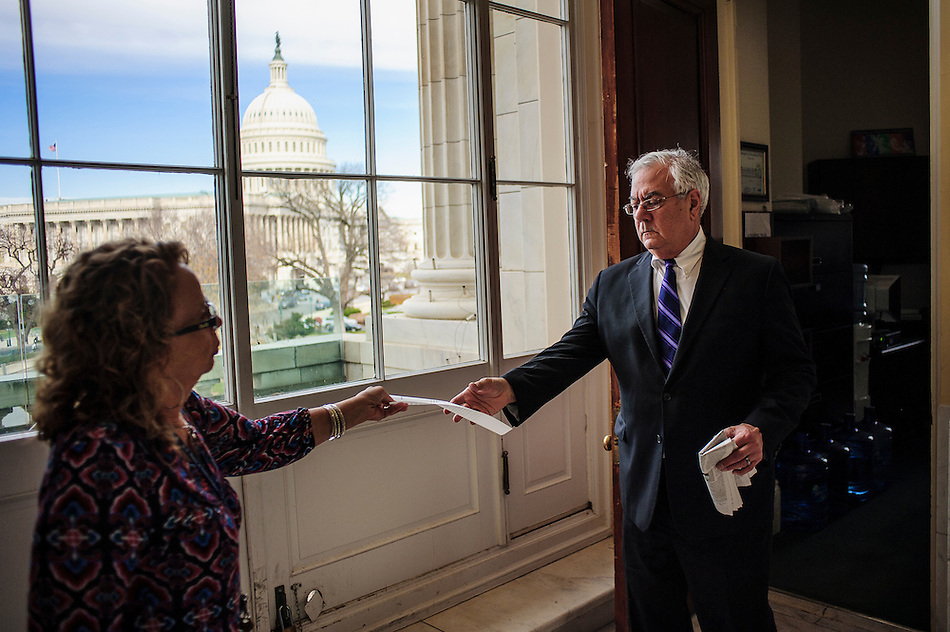 Rep. Barney Frank (D-MA) with his executive assistant, Leona Atkins, on one of his last days as a member of Congress. (Pete Marovich/Pete Marovich Images)