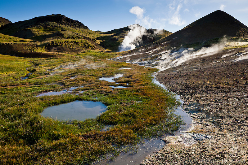 """Grændalur or """"The Green Valley"""" lies just north of the town of Hveragerði in South Iceland. The area is a part of the Hengill volcanic system which extends from Hveragerði to Nesjavellir by lake Þingvallavatn."""