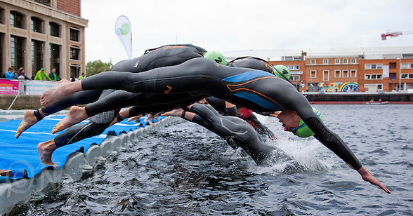 22 MAY 2011 - DUNKERQUE, FRA - Alistair Brownlee (EC Sartrouville) dives into the water at the start of the men's round of the 2011 French Grand Prix triathlon series (PHOTO (C) NIGEL FARROW) (NIGEL FARROW/(C) 2011 NIGEL FARROW)