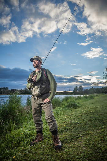 Fly fishing guide Kieran Mooney at Westchester Lagoon, Anchorage (Clark James Mishler)