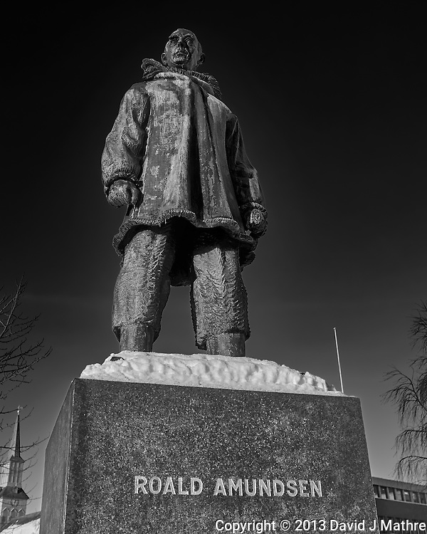 Roald Amundsen statue in Tromsø, Norway. Image taken with a Leica X2 camera (ISO 100, 24 mm, f/5, 1/250 sec). Raw image processed with Capture One Pro (including conversion to B&W). (David J Mathre)