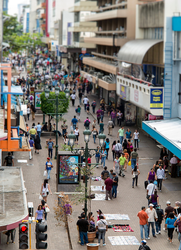 SAN JOSE, COSTA RICA - CIRCA AUGUST 2012: View of the Avenida Central Street circa 2012 in San Jose, a very popular tourist destination with 2.2 million foreign visitors a year. (Daniel Korzeniewski)