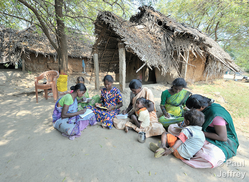 A women's literacy class in Nandambakkam, a tribal village in the southern India state of Tamil Nadu. (Paul Jeffrey)