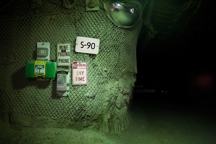 Signs on the corner of the mine walls 2150 ft underground inside The Waste Isolation Pilot Plant in Eddy County. WIPP received $172 million as part of the Recovery and Reinvestment Act accelerate nuclear waste cleanup. (Steven St. John)