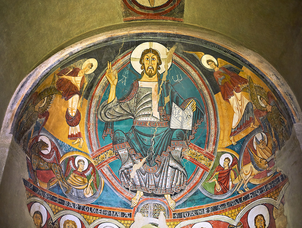 Romanesque frescoes from the Church of Sant Clement de Taull, Vall de Boi, Alta Ribagorca, Spain. Painted around 1123 depicting Christ Pantocrator or In Majesty.  National Art Museum of Catalonia, Barcelona. MNAC 15806 (Paul E Williams)