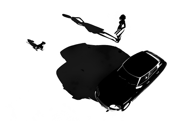 This orthochromatic piece combines a young girl with a fast car. You can also a dog nearby. There are dozens and dozens of unique details to be absorbed here. It is easy to look at this woman and this car and imagine the next few moments. We can see her getting in the car. We can see the dog jumping into the backseat. The car starts. It roars out of the scene. At this point, we can no longer follow. All we can do is wonder if we will ever have the opportunity to see this young French girl again. (Jan Keteleer)