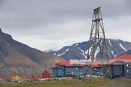 LONGYEARBYEN, NORWAY - SEPTEMBER 01, 2011: View to the street of Longyearbyen, Norway. (Dmitry Chulov)