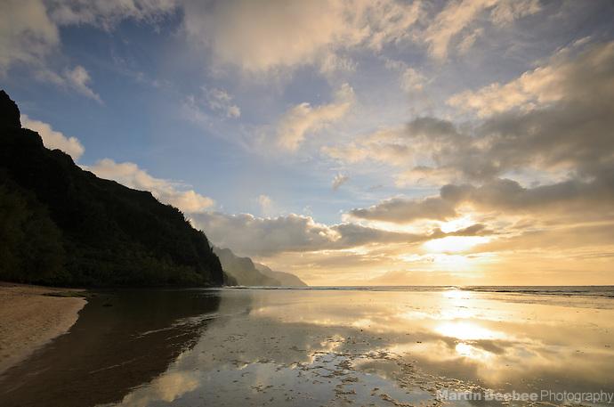 Evening clouds at Ke'e Beach and the Na Pali Coast, Kauai, Hawaii (Martin Beebee Photography)