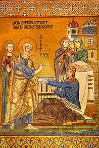 Byzantine mosaic of Tabitha being raised from the dead by Saint Peter. Tabitha is adorned with the garments she had woven for some widows and had given to them as charity. The Palatine Chapel, Norman Palace, Sicily travel photos & pictures available as stock photos, pictures & images & also to download as photo art prints. (Paul Williams)