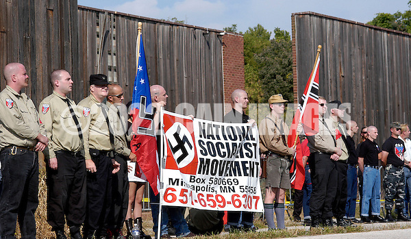 VALLEY FORGE, PA - SEPTEMBER 25: American Nazi party members participate in an American Nazi Party rally at Valley Forge National Park September 25, 2004 in Valley Forge, Pennsylvania. Hundreds of American Nazis from around the country were expected to attend. (Photo by William Thomas Cain/Getty Images) (William Thomas Cain/Getty Images)