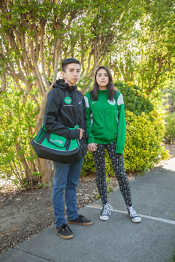 "Sixteen year old Daniel Montanez and his girlfriend Angie Garcia, Calistoga  ""We've been going together for a year."" (Clark James Mishler)"