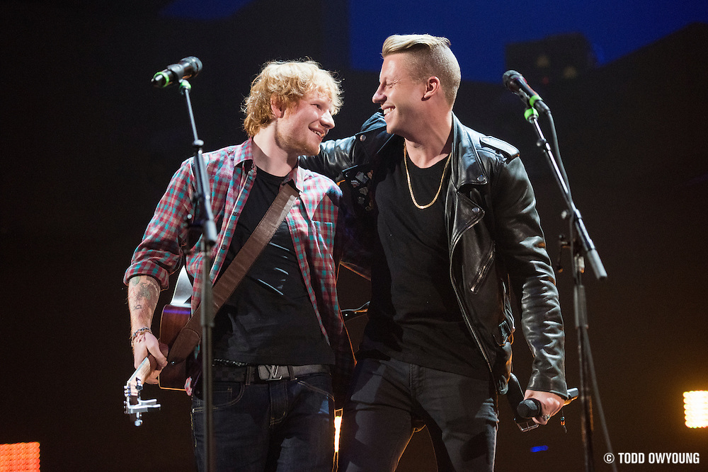 Ed Sheeran and Macklemore performing at the iHeartRadio Music Festival in Las Vegas, Nevada on Sepembter 20, 2014. (Todd Owyoung)