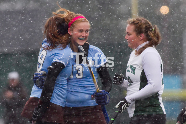 11/07/2012 - Medford, Mass. - Tufts midfielder Emily Cannon, A14, gets a hug from Tufts forward Chelsea Yogerst, A14, after scoring in Tufts' 8-0 win over Castleton in the first round of the NCAA Championships at Bello Field on Nov. 7, 2012. (Kelvin Ma/Tufts University)