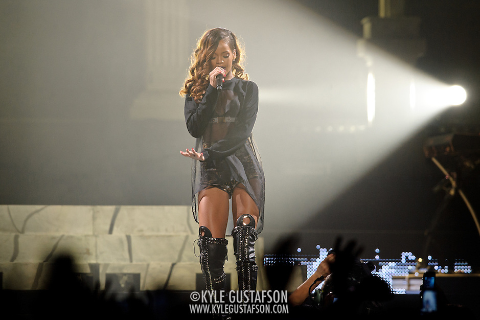 WASHINGTON, DC - April 29th  2013 -  Seven time Grammy Award-winning artist  Rihanna performs at the Verizon center in Washington, D.C. as part of her Diamonds World Tour. Rihanna has released seven albums since 2005, selling 30 million albums and 120 million singles worldwide. Her latest album, Unapologetic, was her first album to reach number one on the US Billboard 200. (Photo by Kyle Gustafson/For The Washington Post) (Kyle Gustafson/For The Washington Post)