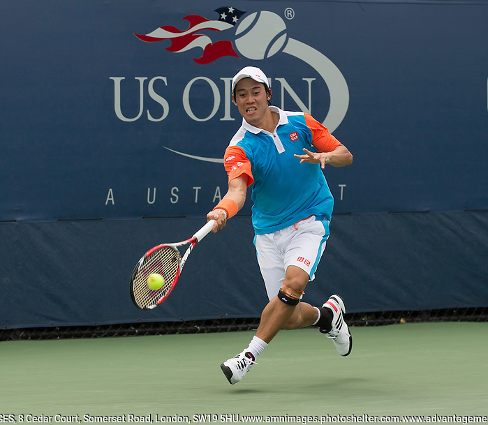 Kei Nishikori Tennis - US Open  - Grand Slam -  Flushing Meadows  2013 -  New York - USA - United States of America - Monday 26th August 2013.  © AMN Images, 8 Cedar Court, Somerset Road, London, SW19 5HU Tel - +44 7843383012 mfrey@advantagemedianet.com www.amnimages.photoshelter.com www.advantagemedianet.com www.tennishead.net (FREY - AMN IMAGES)