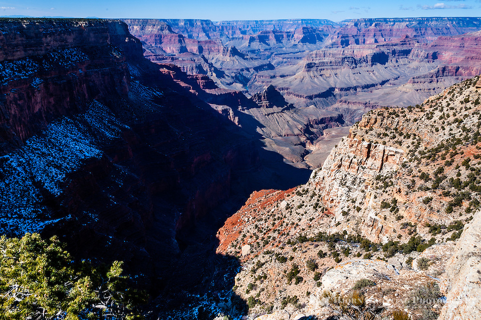 United States, Arizona, Grand Canyon. While most Grand Canyon view points stick out from the rim The Abyss is located along an indentaion in the steep Canyon walls. (Photo Bjorn Grotting)