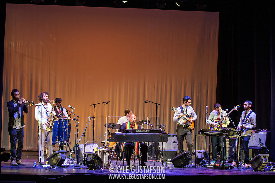WASHINGTON, DC - February 11th, 2014 - Hailu Mergia (center) performs on the Millennium Stage at the Kennedy Center. Mergia, a star of Ethiopian music in the 1970s as a member of the Walias Band, now drives a cab in Washington, D.C. (Photo by Kyle Gustafson / For The Washington Post) (Kyle Gustafson/For The Washington Post)
