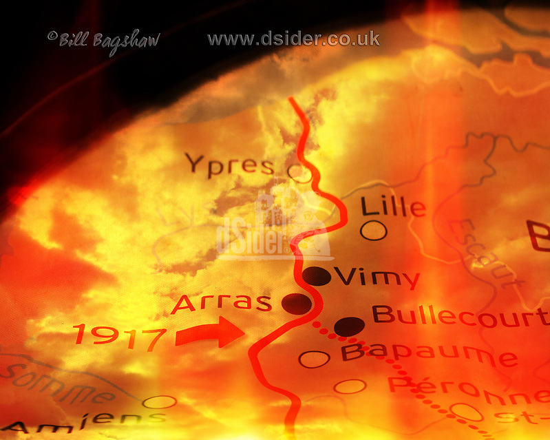 Battlefront Map of The Battle of Arras 9th April 1917. Somme Battlefront (Bill Bagshaw/M. Williams)