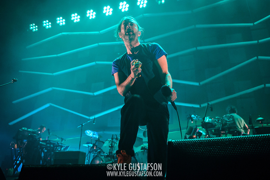 FAIRFAX, VA - September 30th, 2013 - Thom Yorke of Atoms For Peace performs at the Patriot Center in Fairfax, VA. The band, which consists of Yorke, Red Hot Chili Peppers bassist Flea, Radiohead producer Nigel Godrich and R.E.M. touring drummer Joey Waronker, performed songs from the group's debut album, Amok, as well as songs from Yorke's solo debut and Radiohead b-sides. (Photo by Kyle Gustafson / For The Washington Post) (Kyle Gustafson/For The Washington Post)