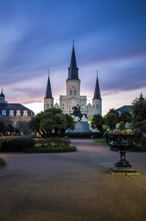 St. Louis Cathedral as seen from Jackson Square in New Orleans at dusk. (Daniel Korzeniewski)