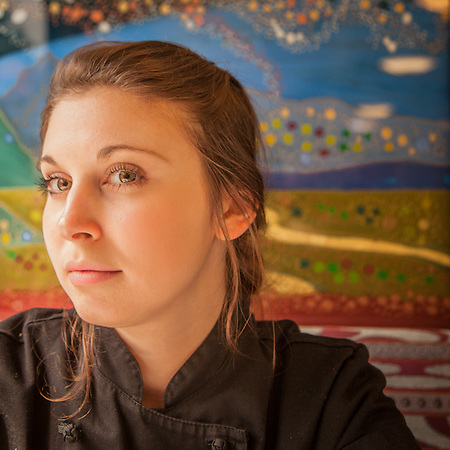 Prep Cook Jade Hermon on the Alaska Railroad enroute from Anchorage to Fairbanks  jadeherman6@hotmail.com (© Clark James Mishler)