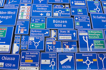 LUCERNE, SWITZERLAND - FEBRUARY 19, 2012: Display of the traffic signs at the exterior wall of the Swiss Museum of Transport in Lucerne, Switzerland. This museum exhibits all forms of transport. (Dmitry Chulov)