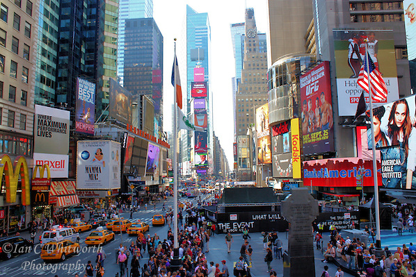 Looking down Times Square from the bleachers at the set up of the Event. (Ian C Whitworth)