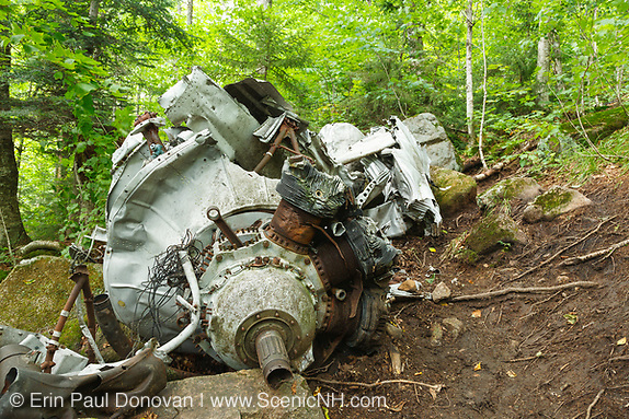 Crash site of B-18 Bomber on Mt Waternomee in Woodstock, New Hampshire. Crashed on January 14, 1942. Out of seven crew members, five survived the crash and were able to remove themselves from the wreckage. The remaining two members died when the plane exploded