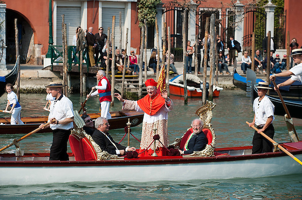 VENICE, ITALY - MARCH 25:  Ã? The recently appointed Patriarch of Venice Francesco Moraglia sails the Grand Canal on an official gondola heading towards  St Mark's Cathedral on March 25, 2012 in Venice, Italy. The Patriarch of Venice is the smallest of the Italian dioceses but one of the oldest, created in 774. Three of the last seven Italian Pontiffs were Patriarch of Venice.  (Photo by Marco Secchi/Getty Images) (Marco Secchi/Getty Images)