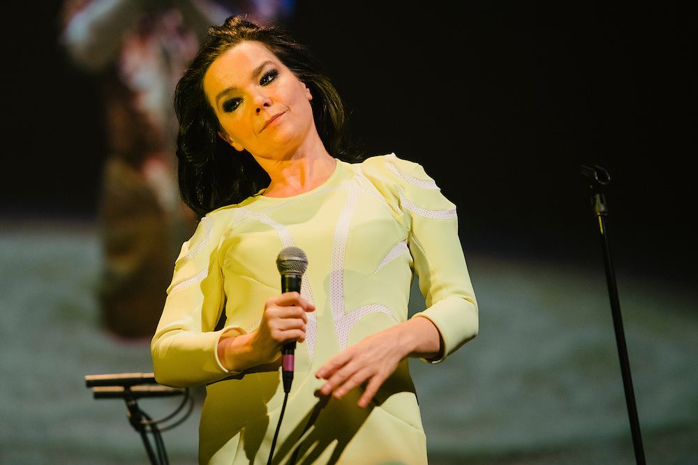 Photos of Icelandic musician Björk performing live for 'Stopp - Let's Protect the Park' nature benefit concert at Harpa concert hall in Reykjavík, Iceland. March 18, 2014. Copyright © 2014 Matthew Eisman. All Rights Reserved (Matthew Eisman/Photo by Matthew Eisman)
